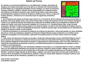 Boletín de Prensa 24 de Abril 2014