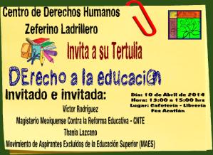 Tertulia Derecho a la Educación