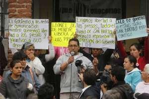Pronunciamiento por la Libertad de los presos políticos de San Bartolo Ameyalco. Foto: REDTDT