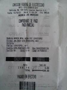 recibo de pago Coyotepec